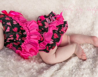 Beautiful Parley Ray Valentine's Day Pinafore Dress with Ruffled Baby Bloomers/ Diaper Cover / Photo Props