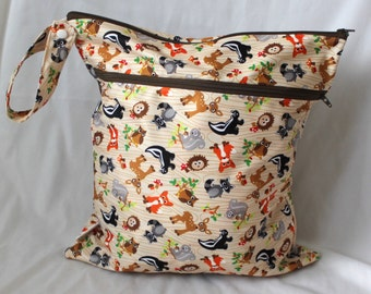 Wet and dry bag. Double zippered bag. 2 compartments. forest animal Print Large 14x16 will fit approx 10-12 diapers