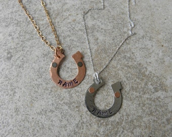 Hand stamped horseshoe necklace