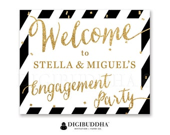 Engagement Party WELCOME SIGN Black & White Gold Glitter She Said Yes! Wedding Bachelorette Party Sign Confetti Sprinkle Dots - Stella