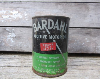 Vintage Bardahl Motor Oil Can 1950s Era Tin Metal Advetising Can Heavily Aged Distressed Green and Black Label Lamp Shade Lamp Supply Parts