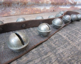 Antique Jingle Bells 25 Horse Bells 57 inches Leather Strap Original Antique Old Sleigh Bells Happy Holiday Merry Christmas Stocking Stuffer