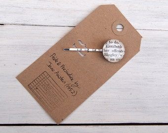Elizabeth and Bingley Pride & Prejudice hair pin (bobby pin).  Made using an original book (1952).