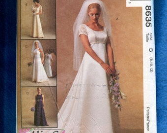 McCalls 8635 Classic Wedding Dress with Empire Waist Round Neckline &  Train Sizes 8..10..12 UNCUT