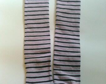 Pink Gray Dark Blue Striped Leg Warmers