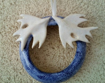 Circle of love.love and life . Blue  Wreath with Love Birds .Wedding decoration or Christmas decoration. Holiday Decor.