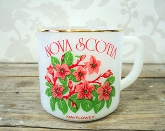 Nova Scotia provincial souvenir Coffee Mug, Federal Glass, milkglass, coffee cup, teacup