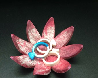 Pink Marbled Resin flower ring holder / tree