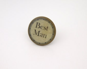 Wedding Tie/Lapel Pin Best Man in Antique Bronze Finish