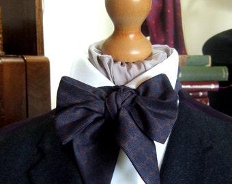Victorian Bow Tie Cravat Ascot in Blue and Dark Beige 100% Cotton