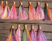 """Silky Rainbow Tassels 3""""inches Set Of 20 Tassels With Gold Tie Thread"""