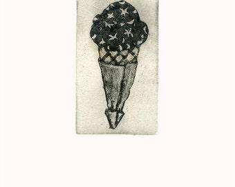 ice cream cone mini etching