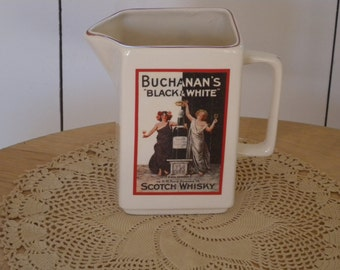 BUCHANAN'S Vintage Black and White Scotch Whiskey Advertising Pitcher