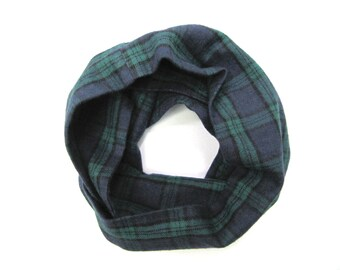 Blue Plaid Scarf, Toddler Scarf, Flannel Scarf, Children Clothing, Unisex Scarf, Child Gift, Baby Bib Scarf, Under 20 Dollars, Ready To Ship