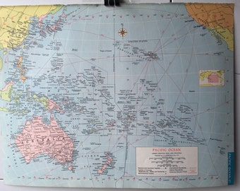 Vintage 1965 Hammond's World Atlas Map Page (Pacific Ocean on one side and North America on the other side)