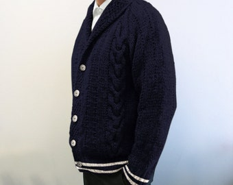 custom made hand knitted 100% wool cardigan dark Blue Nautical