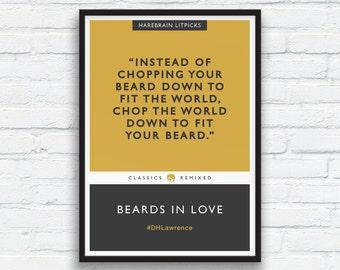 Beard Art Print, DH Lawrence art, Mustard and Charcoal Black Decor, Literary parody, Penguin Classics parody, Fun Beard Quote, Printable Art