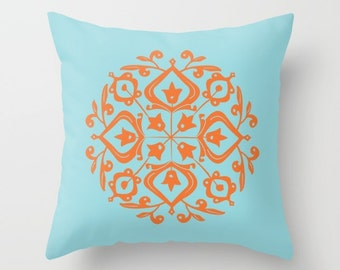 Persian Glaze Decorative Pillow, Persian Folk Motif, orange, light aqua pillow, Faux Down Insert, Indoor or Outdoor Pillow Cover