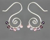 Lavander Pearl silver wiring  spiral earring handmade US freeshipping Anni Designs