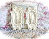 Shabby Off White Cream Distressed Ornate Scrolled Fleur De Lis Small Wall Mirror Cottage Chic Set of 2 READY TO SHIP