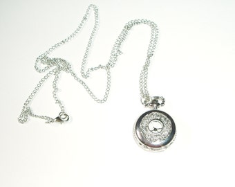 Silver Watch Pendant on Long Chain - Beautiful Filigree Working Pocket Watch Style Pendant Necklace