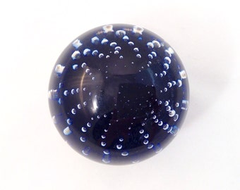 Vintage Italian Crystal Ball, Blue Bubbles