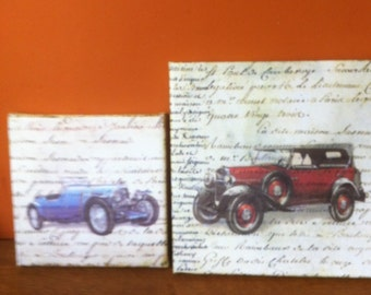 Decoupaged vintage style picture home decoration My Old Car