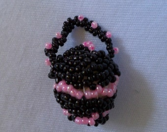 Handmade Purse Charms Glass Beaded Black and Pink Pearl