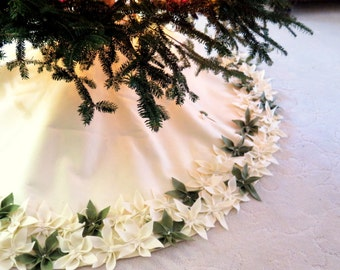 "60"" Christmas Tree Skirt in Ivory felt with hand cut and hand sewn flowers at the hem with random  green flowers. FREE SHIPPING"