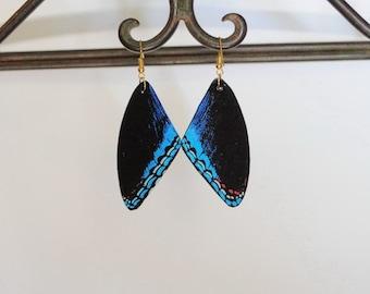 Butterfly Earrings, Jewelry, Wing Earrings, 14k, Sterling Silver, Hypoallergenic, Dangle Earrings, Fish Hook earrings, Blue butterfly
