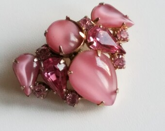 Pink Rhinestone and Pink Moonglow Stone Brooch Pin Vintage