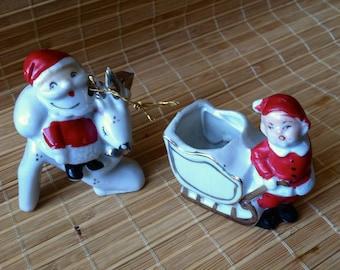 "Vintage 50's ""ELf PLANTER - SANTA ORNAMENT  Two wonderful Christmas Accents"