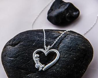 Mermaid Necklace, Mermaid  Pendant, Heart Pendant, Mermaid Life, Mermaid Heart Pendant, Sterling Silver Mermaid Jewelry, Heart Jewelry
