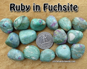 Ruby in Fuchsite (medium) tumbled stone for crystal healing (Fuschite)