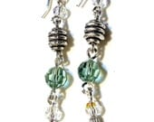 Handmade Erenite swarovki crystal earrings - sterling silver and crystal earrings