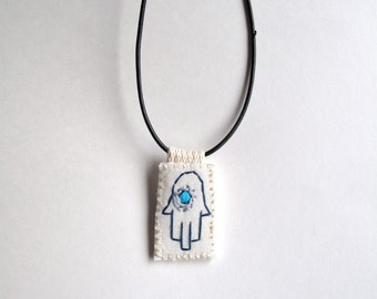 Hamsa embroidered charm necklace good luck evil eye talisman Hand of Fatima Hand of Mary Hand of Miriam amulet An Astrid Endeavor