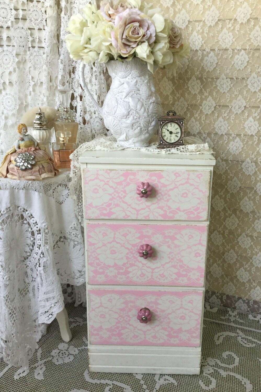 Pink Bedside Table: Shabby Pink Dresser Bedside Table Nightstand Lingerie