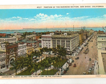 Linen Postcard, San Diego, California, View of Portion of Business Section, ca 1930