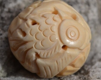 Hollow bone pendant beads tea stained  OB102