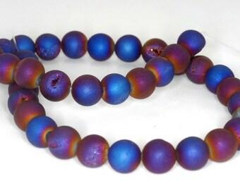10MM Titanium Purple Blue Agate Druzy Gemstone Round Loose Beads 7 inch Half Strand (90190851-B56)
