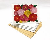 Watercolor Red Floral Illustrated Blank Cards Set - 5 pieces