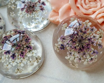 25 mm Round Shape Purple and White Baby's Breath Dried Flowers Flat Back Resin Cabochons (t.m)