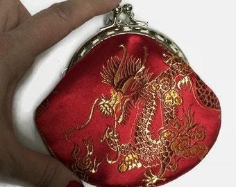 Silk Coin Purse, Dragon Coin Purse, Chinese Dragon Coin Purse, Small Coin Purse, Change Purse, Purse, Chinese silk coin purse