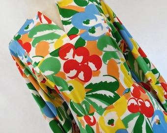 18% OFF COLIN GLASCOE . The Fruit  Garden . S M Sensational Bold Cherries Berries Apples Print Maxi Dress 70s