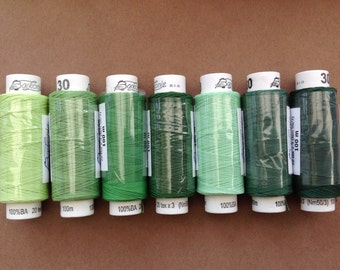 Seven spools of Czech cotton lacemaking thread - shades of green