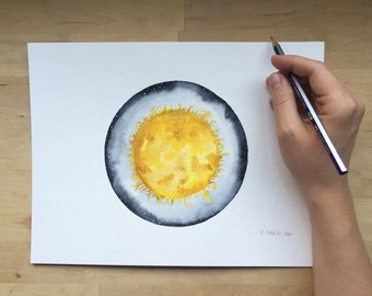 Le Soleil - 9x12 Watercolor Painting on Paper | Sun | Space Art | Solar System | Galaxy | Star