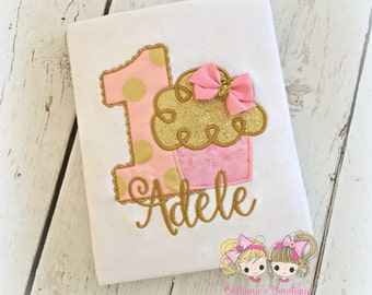 Pink and Gold Birthday Cupcake Shirt- Gold Glitter- Polka Dots- Custom embroidery