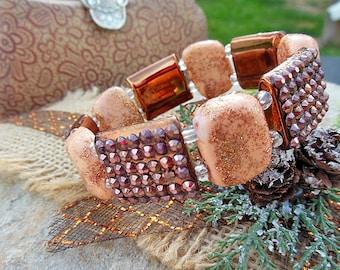 Polymer Clay Jewelry, Peach Jewelry, Custom Beads, Jewelry For Her, Sparkly Bracelet, Stretch Bracelet, Unique Gift, Handmade Gifts, Apricot