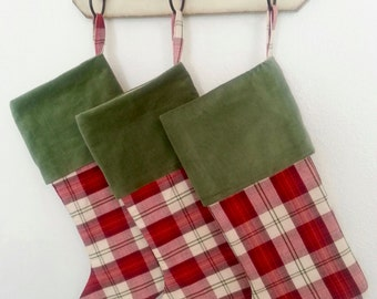Red Plaid Stocking with Green Velvet Cuff