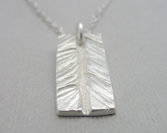 Silver Yew Tree Pattern Rectangle Pendant on Sterling SIlver Chain - Free UK Postage